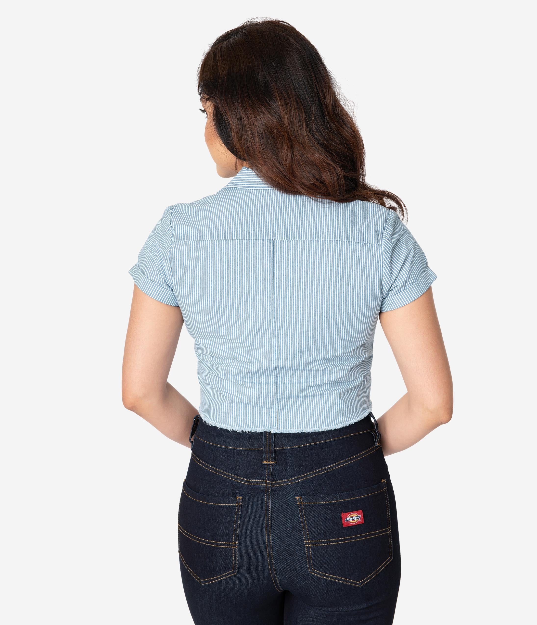 31c5ad7a975 Dickies Red Vintage Medallion Logo Cotton Front Tie Crop Top ...