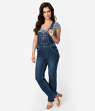 Dickies Dark Blue Wash Denim Cotton Relaxed Leg Overalls
