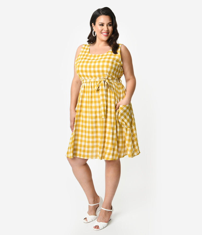 8d65c54a3515 Plus Size Mustard Yellow   Ivory Gingham Cotton Sleeveless Fit   Flare Dress