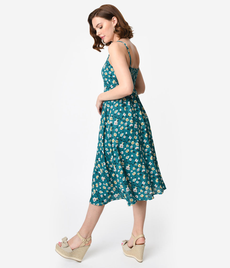 Retro Style Dark Teal Floral Print Sleeveless Midi Dress
