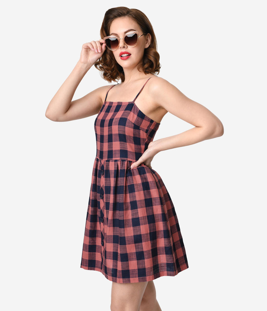 Retro Style Dusty Pink & Navy Blue Gingham Cotton Fit & Flare Dress