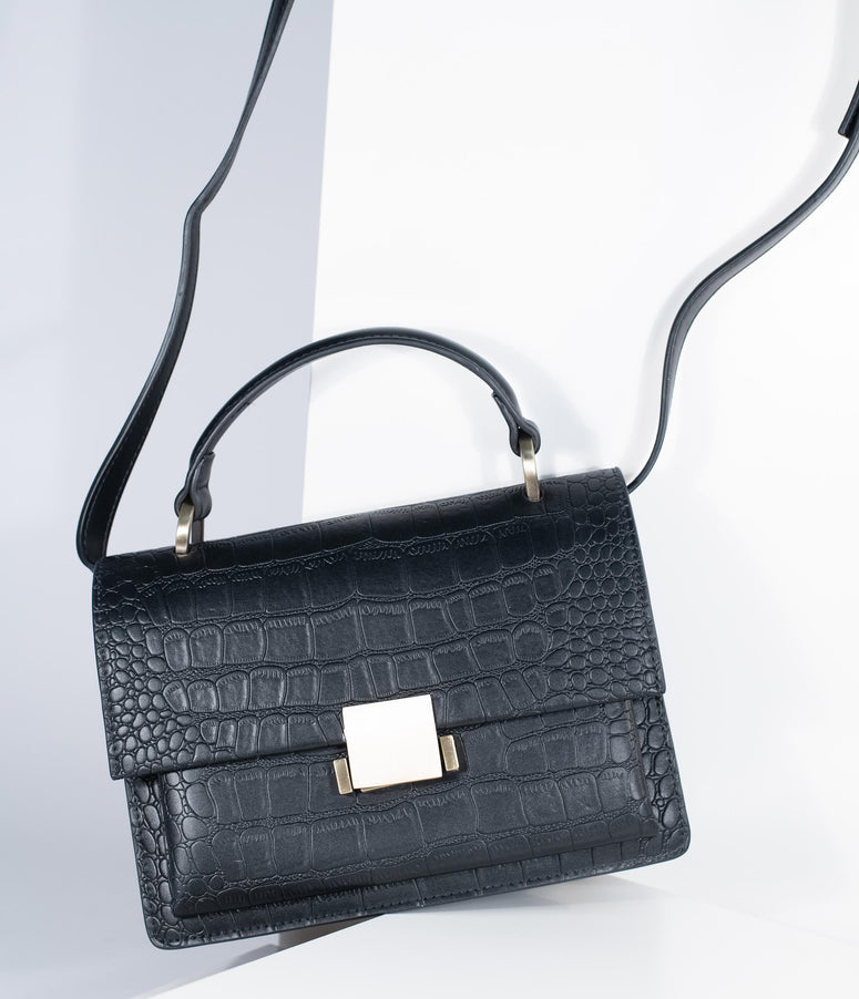 Black Leatherette Reptile Embossed Handbag