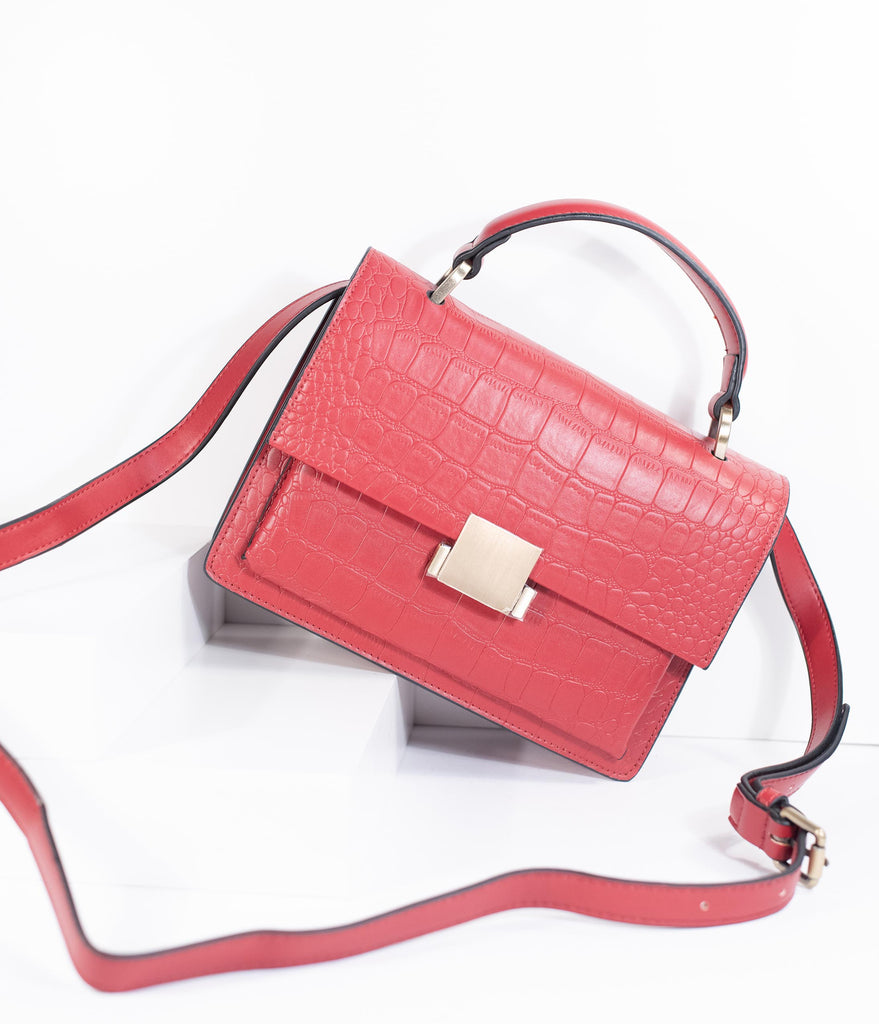 Red Leatherette Reptile Embossed Handbag