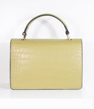 Green-Yellow Leatherette Reptile Embossed Handbag