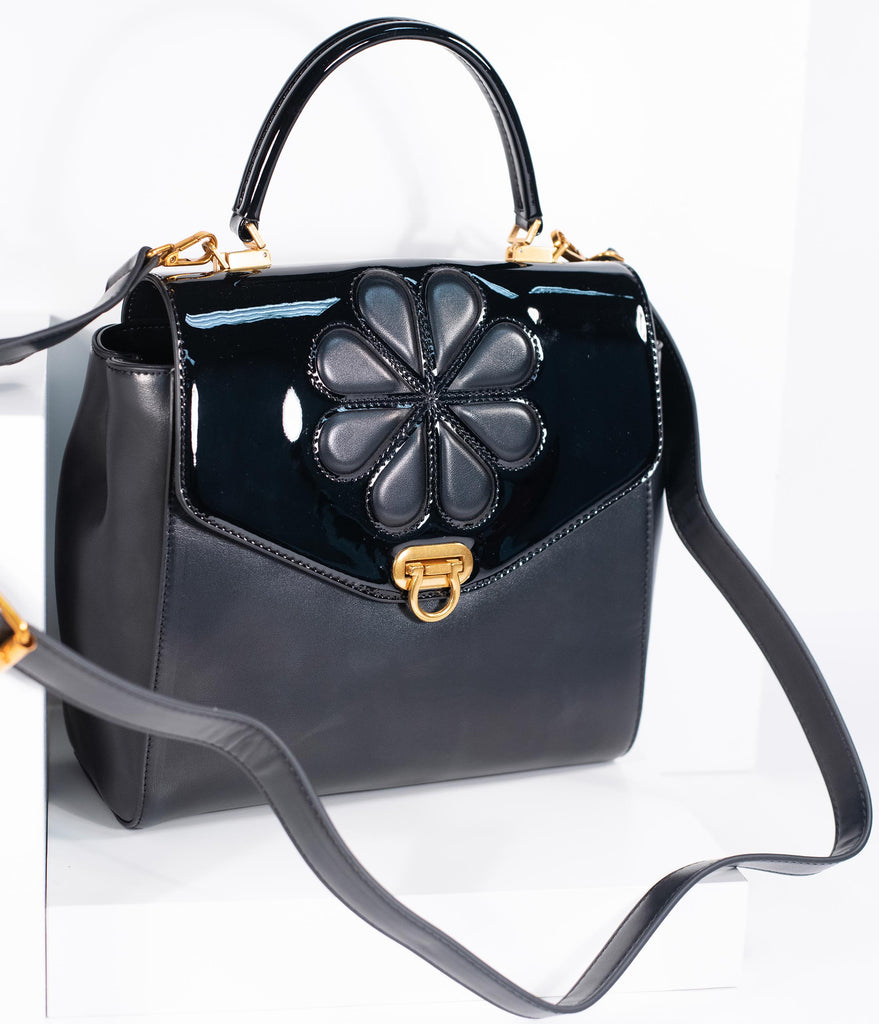 Black Leatherette Waterlily Purse