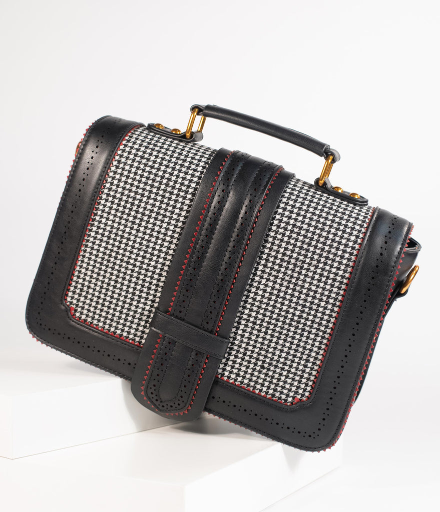 Black Leatherette Houndstooth Betty Does Country Satchel Bag