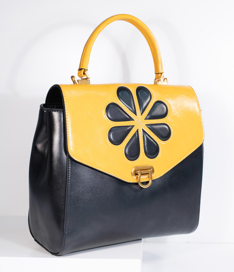 Black & Mustard Yellow Leatherette Waterlily Purse