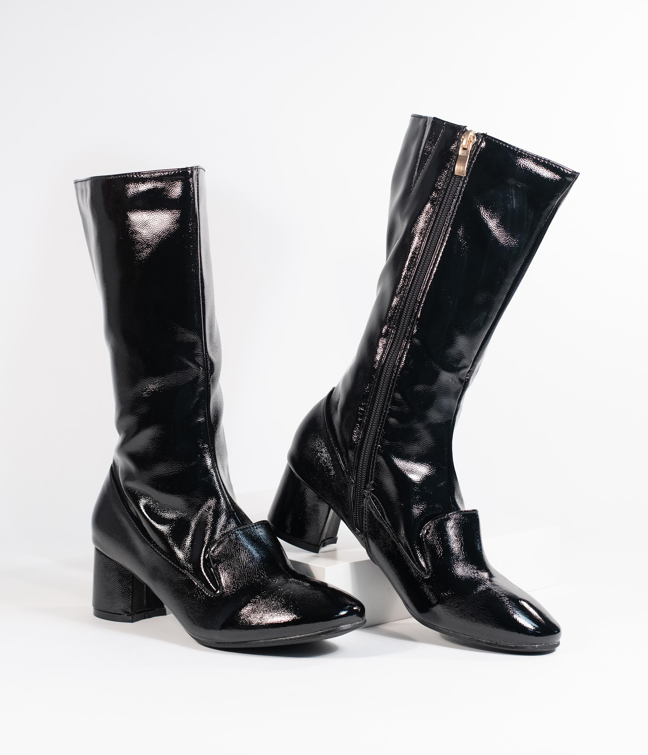 Vintage Boots- Buy Winter Retro Boots 1960S Style Black Patent Leatherette Block Heel Modernist Boots $78.00 AT vintagedancer.com