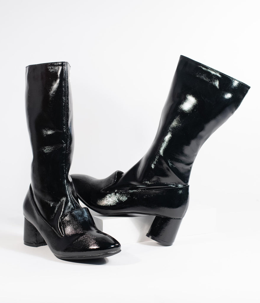 1960s Style Black Patent Leatherette Block Heel Modernist Boots