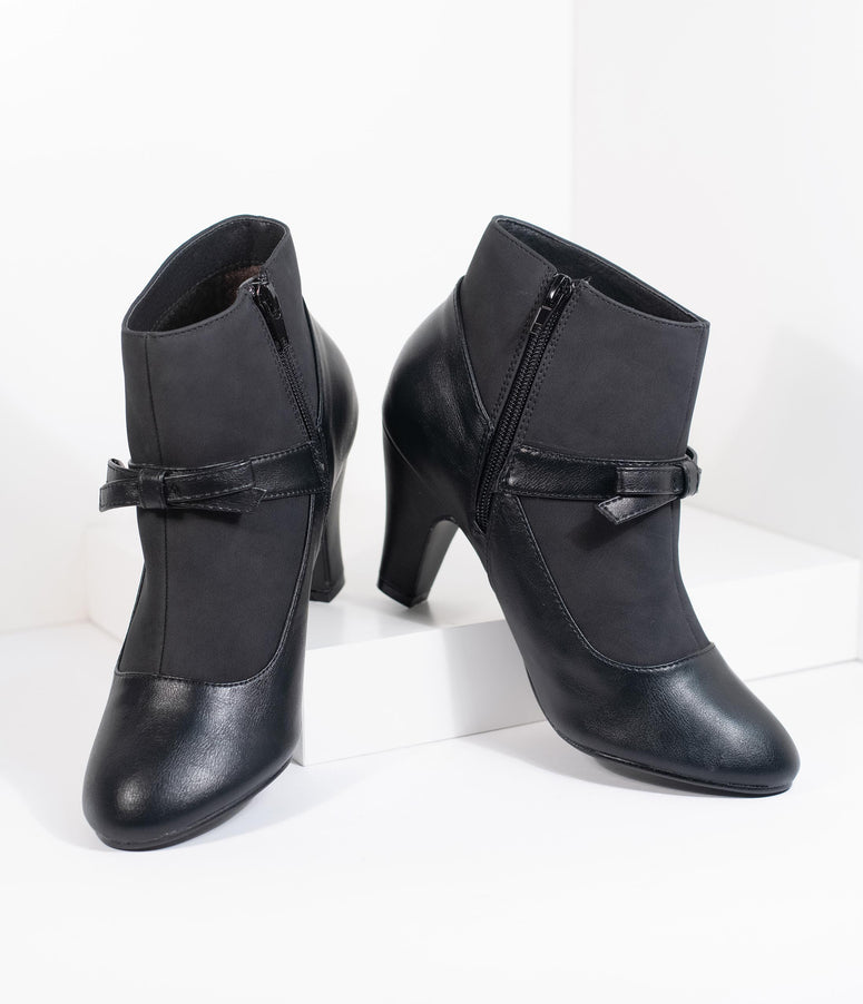 Vintage Style Black Leatherette Bow Heel Booties