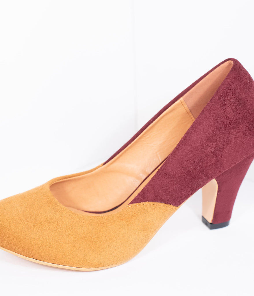 Burgundy & Mustard Suede Two Tone Pumps