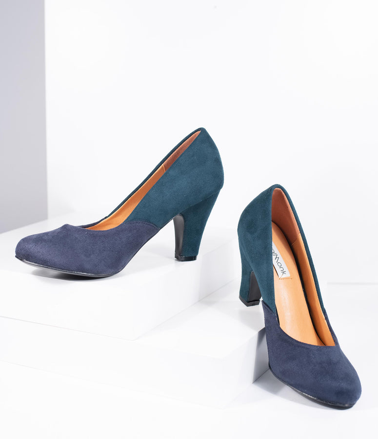 Navy & Teal Suede Two Tone Pumps