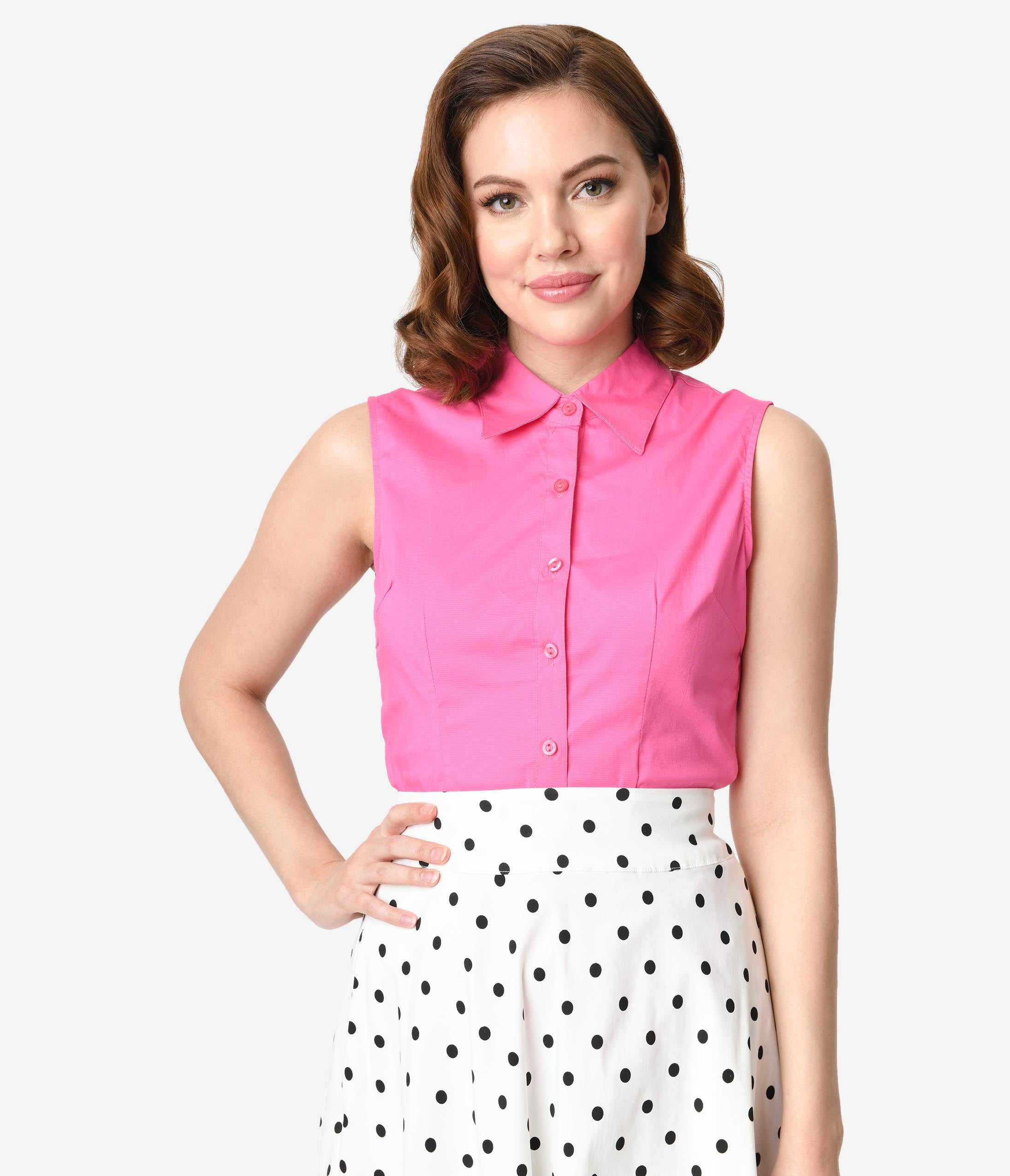 1950s Rockabilly & Pin Up Tops, Blouses, Shirts Fuchsia Pink Sleeveless Collared Cotton Button Up Blouse $24.00 AT vintagedancer.com