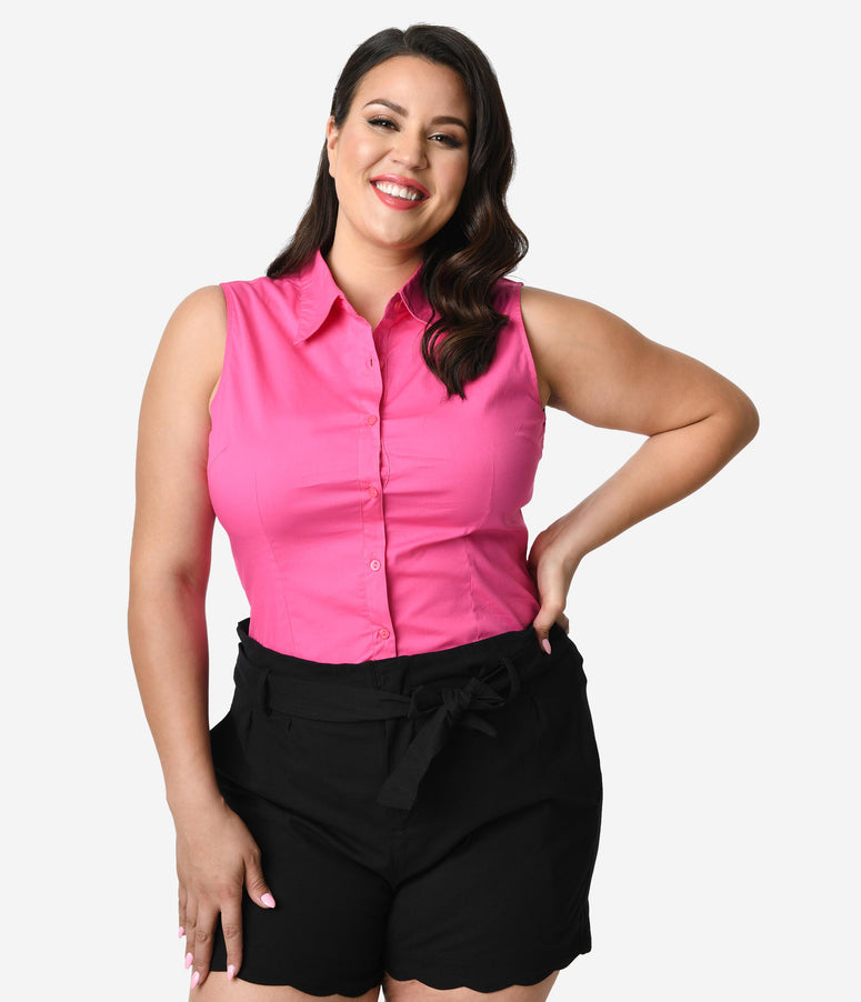 64bd169d16f390 Plus Size Fuchsia Pink Sleeveless Collared Cotton Button Up Blouse