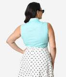Plus Size Aqua Blue Sleeveless Collared Cotton Button Up Blouse