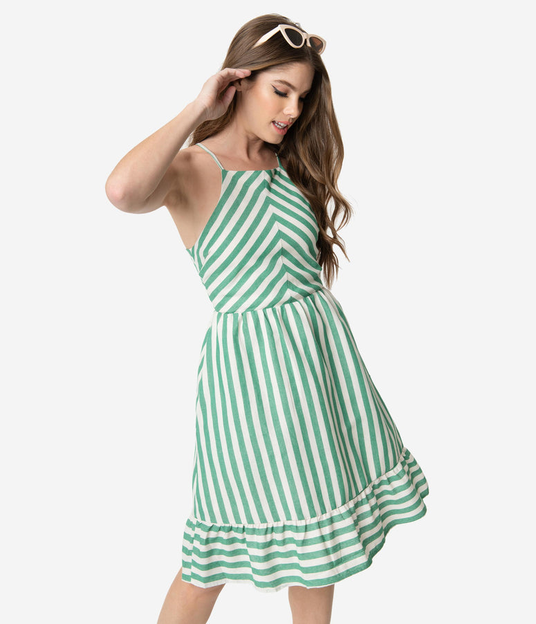 Retro Style Green & Ivory Stripe Cotton Sleeveless Summer Dress