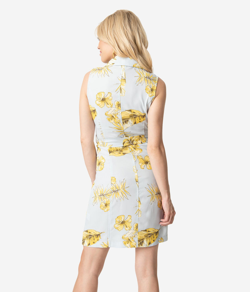 Sky Blue & Yellow Tropical Print Button Up Wrap Dress