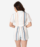 1960s Style Ivory & Multicolor Stripe Button Up Short Sleeve Romper