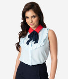 Light Blue Crepe Red & Navy Collar Tie Sleeveless Ruffle Blouse