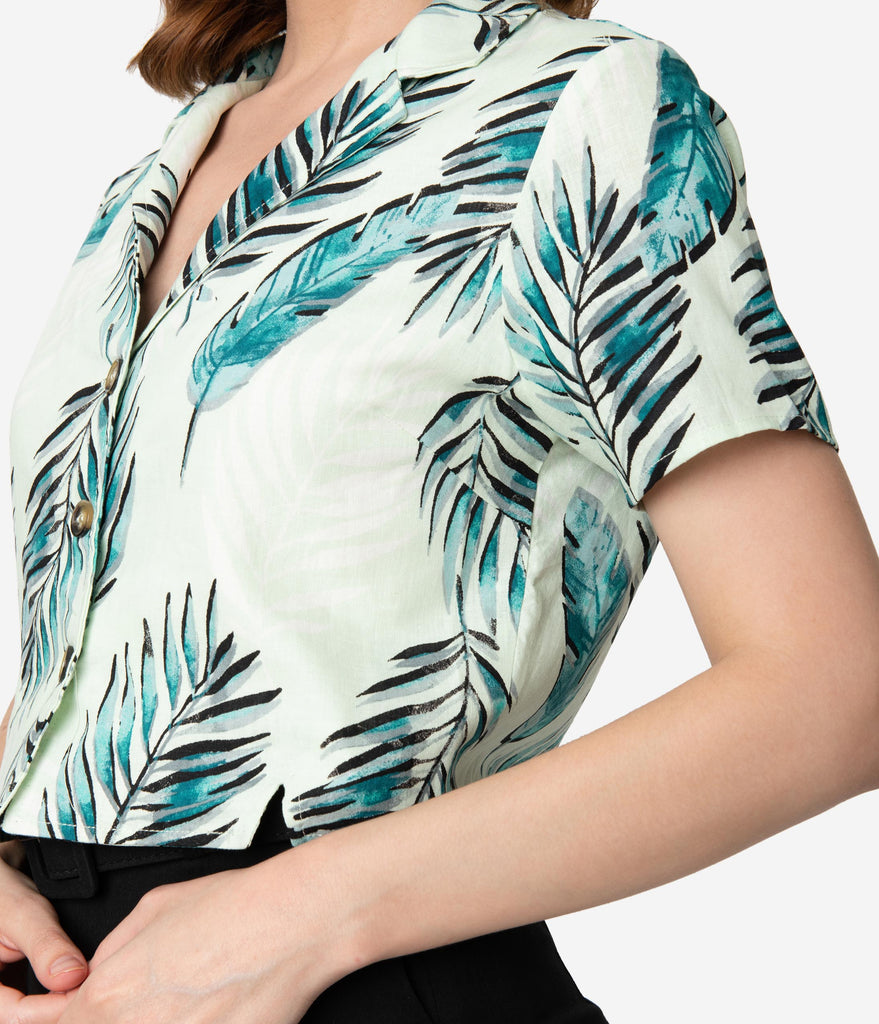 Vintage Style Mint & Green Tropical Palm Print Button Up Crop Top