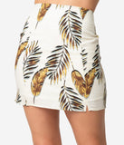 Vintage Style Ivory & Taupe Tropical Palm Frond Print Pencil Skirt