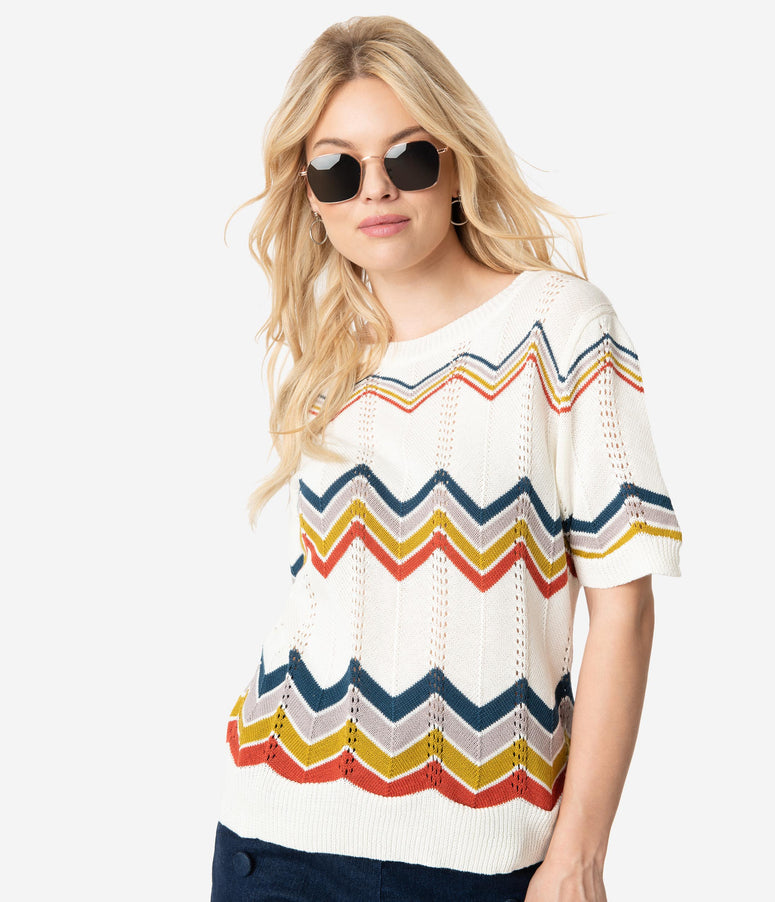 Retro Style Ivory & Multicolor Chevron Short Sleeve Knit Sweater