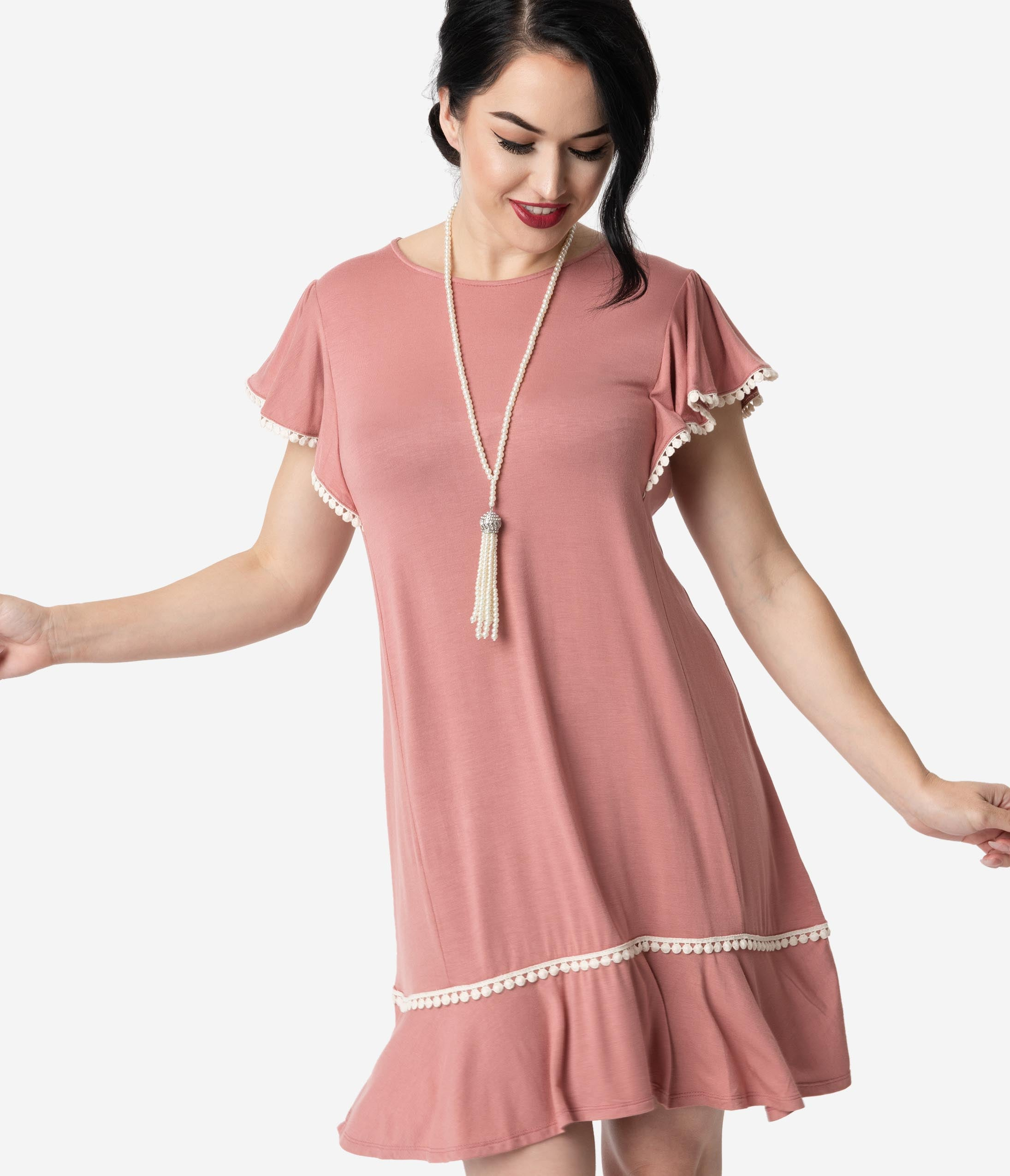 1920s Day Dresses, Tea Dresses, Mature Dresses with Sleeves 1920S Style Mauve Pink Butterfly Sleeve Day Dress $48.00 AT vintagedancer.com