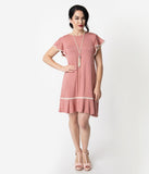 1920s Style Mauve Pink Butterfly Sleeve Day Dress