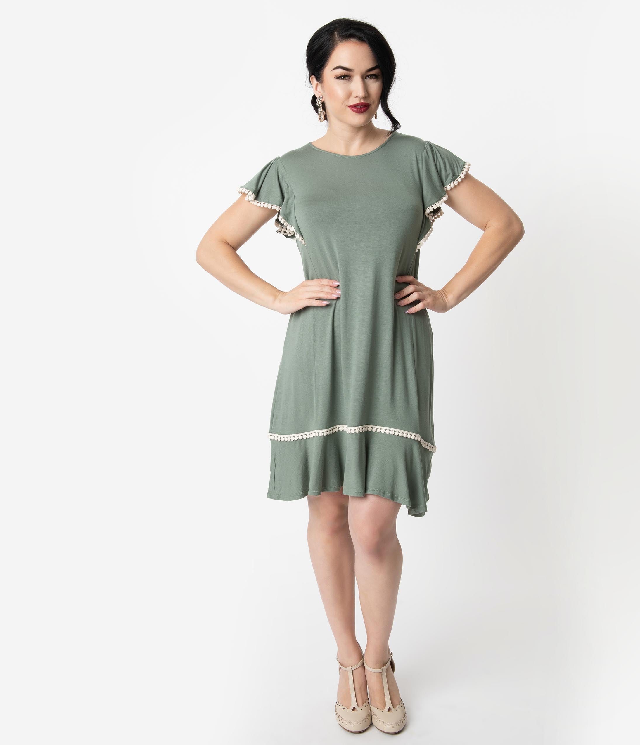 1920s Day Dresses, Tea Dresses, Mature Dresses with Sleeves 1920S Style Sage Green Butterfly Sleeve Day Dress $48.00 AT vintagedancer.com