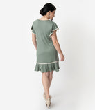 1920s Style Sage Green Butterfly Sleeve Day Dress