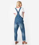 Retro Style Medium Denim Wash Rainbow Suspenders Jean Overalls