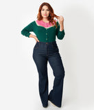 Plus Size Dark Blue Wash High Waisted Denim Flare Jeans