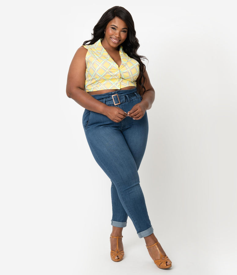 Vintage Style Plus Size Blue Denim High Waisted Paper Bag Skinny Jeans