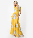 1970s Style Yellow & Ivory Hydrangea Floral Short Sleeve Maxi Dress