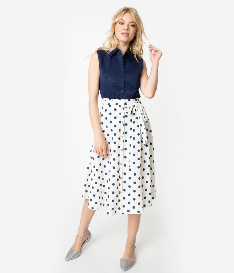 84428d614310fa Vintage Style White & Navy Blue Polka Dot High Waist Bow Tie Swing Skirt