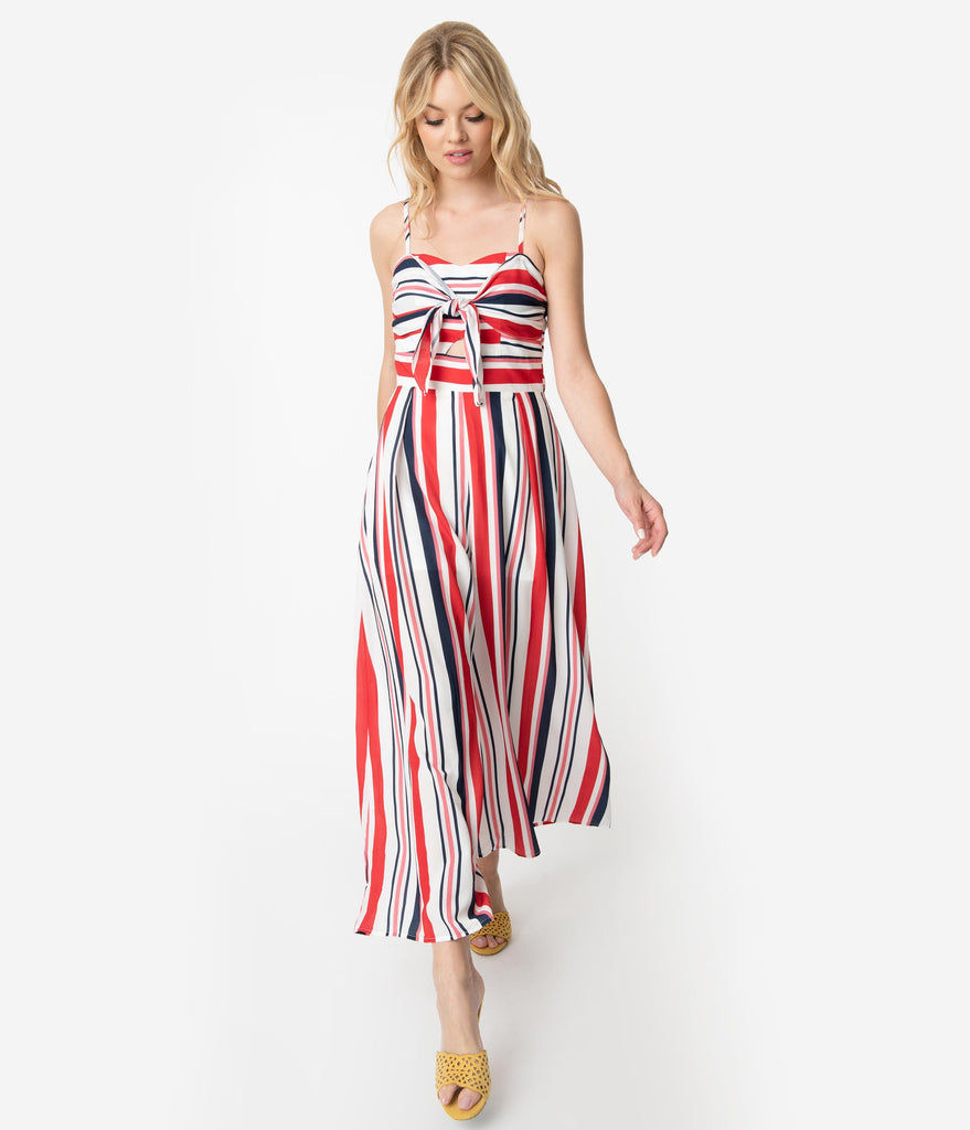 Red White & Navy Blue Stripe Crepe Sleeveless Front Tie Jumpsuit