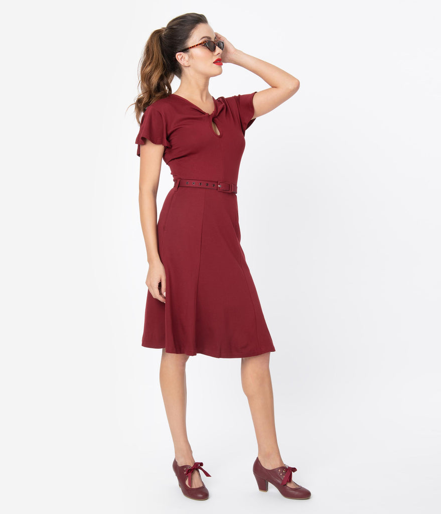 Voodoo Vixen 1950s Style Burgundy Red Twist Keyhole Swing Dress