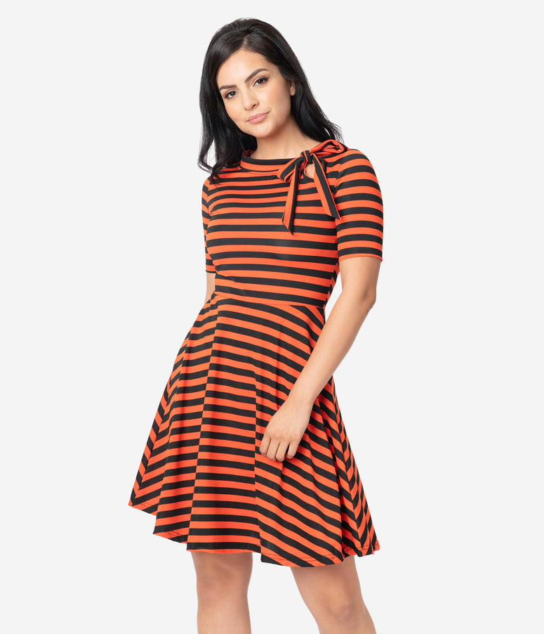 Voodoo Vixen Orange & Black Stripe Bow Tie Fit & Flare Dress