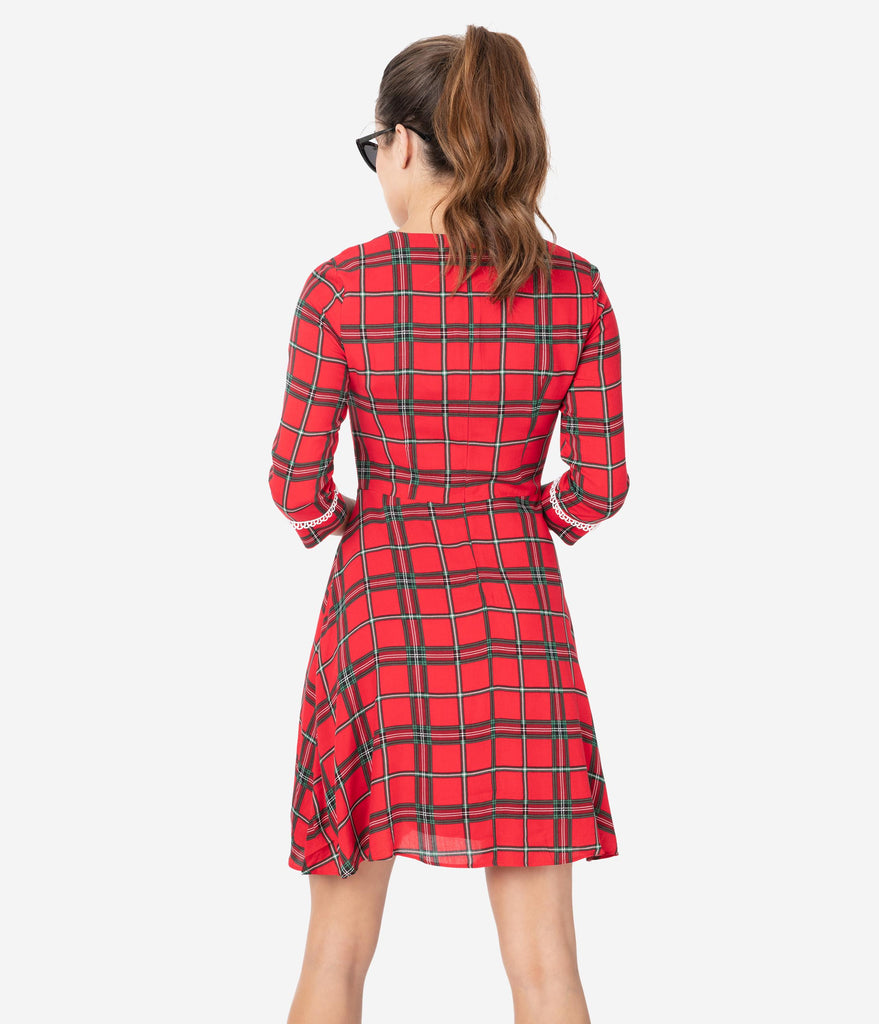 Voodoo Vixen 1960s Red Plaid & Ivory Lace Trim Fit & Flare Dress