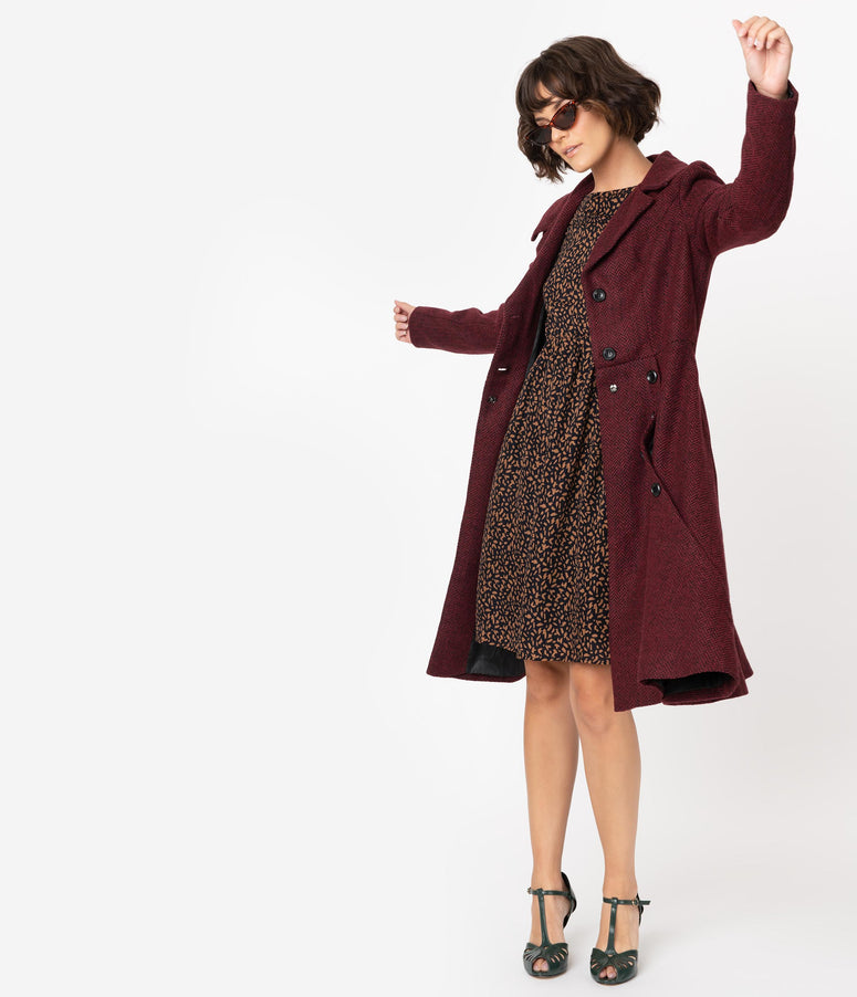 Voodoo Vixen Burgundy Red Herringbone Long Sleeve Button Coat