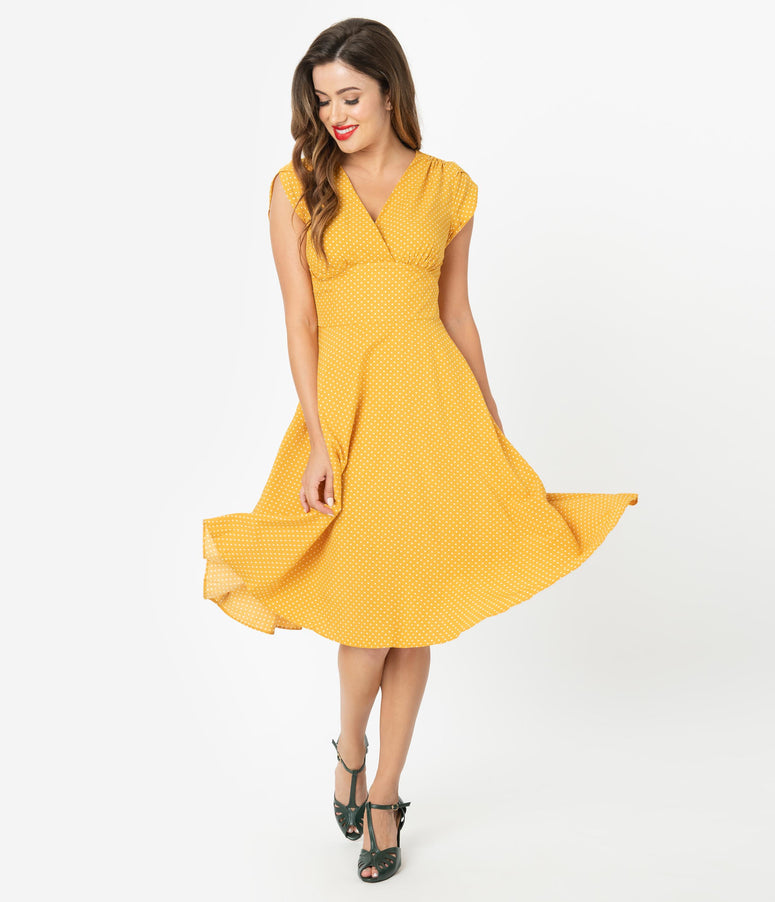 Voodoo Vixen 1940s Mustard Yellow & White Pin Dot Swing Dress