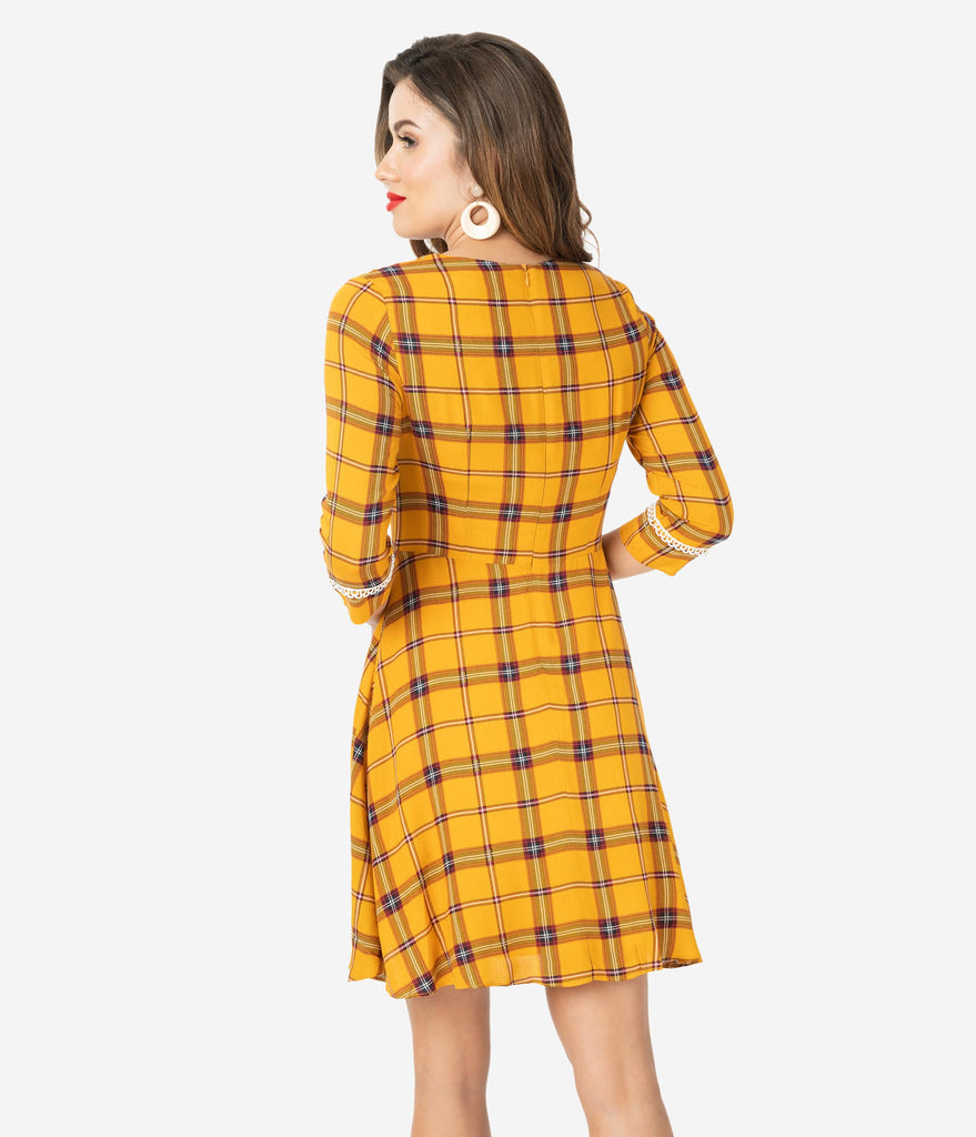 Voodoo Vixen 1960s Mustard Plaid & Ivory Lace Trim Fit & Flare Dress