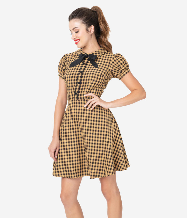 Voodoo Vixen 1960s Style Tan & Black Gingham Fit & Flare Dress