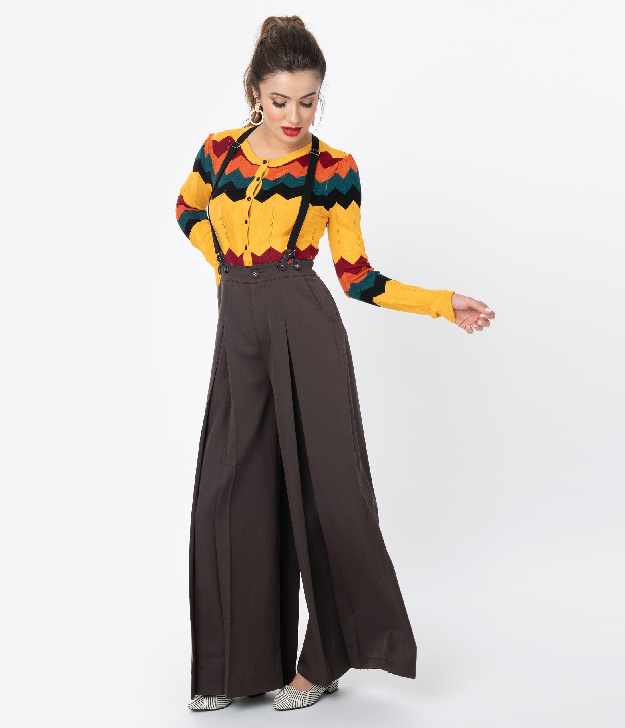1940s Blouses and Tops Voodoo Vixen 1940S Style Brown Wide Leg Pleated Suspender Trousers $78.00 AT vintagedancer.com