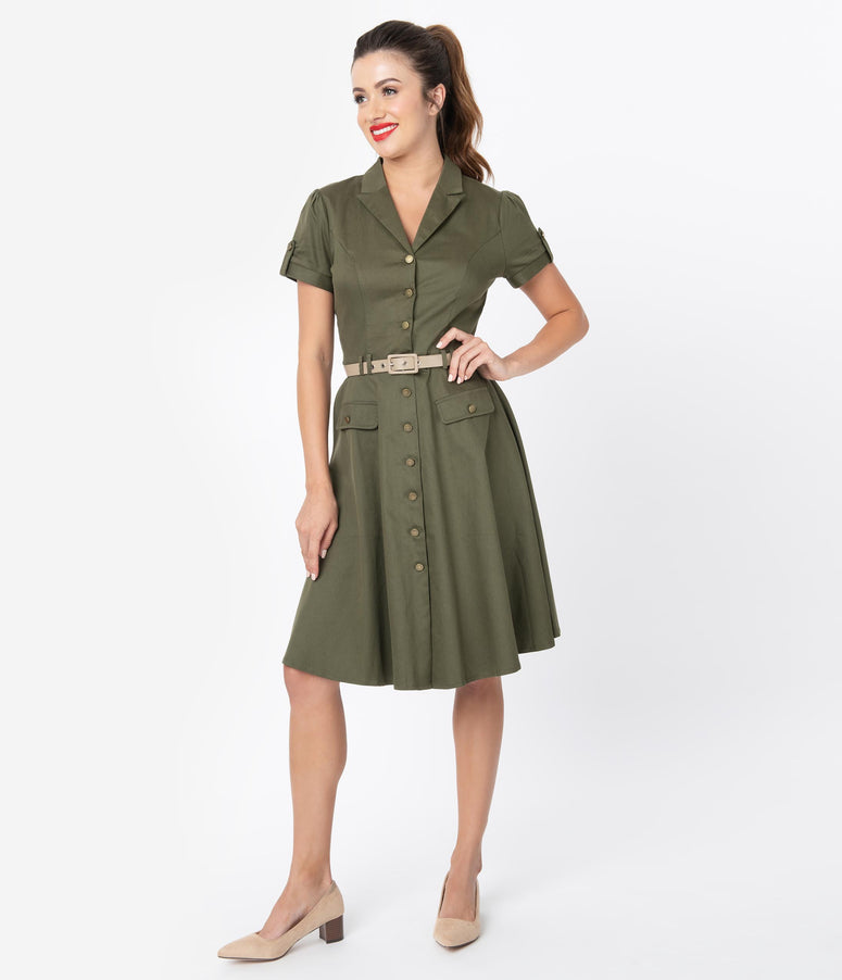 Voodoo Vixen 1940s Style Army Green Short Sleeve Shirtdress