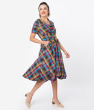 Voodoo Vixen 1940s Rainbow Plaid Short Sleeve Swing Dress