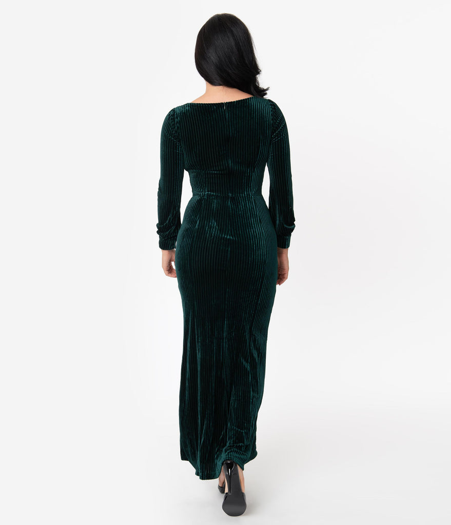 Voodoo Vixen 1930s Style Green Jewel Velvet Long Sleeve Maxi Dress