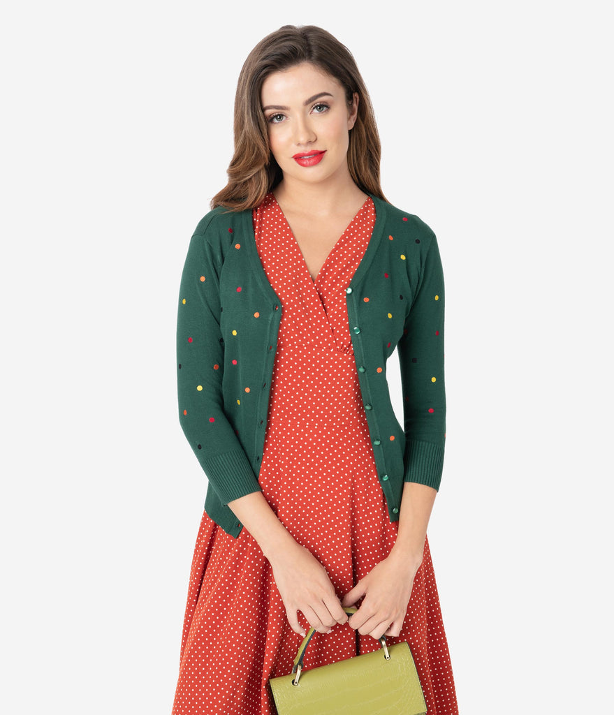 Voodoo Vixen 1950s Emerald Green & Multicolor Embroidered Dot Cardigan