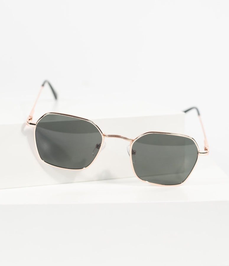 Rose Gold Metal Geometric Rounded Ringside Sunglasses