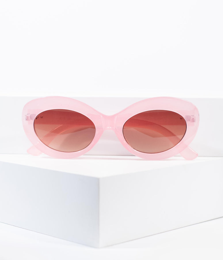 Retro Style Crystal Pink Lava Rounded Cateye Sunglasses